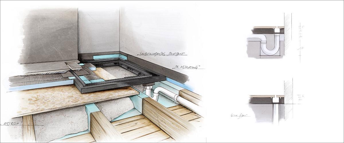 dusche in holzbalkendecke installieren baqua. Black Bedroom Furniture Sets. Home Design Ideas