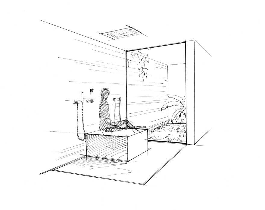 Die Duschbank als Insel auf dem planen Duschboden.