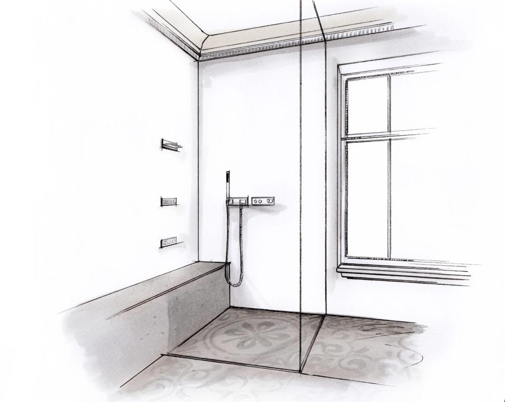 Design Dusche mit Zementfliese