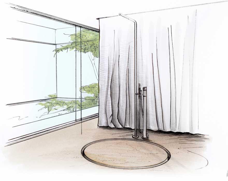 Die runde Dusche als offene-freistehende Duschvariante.