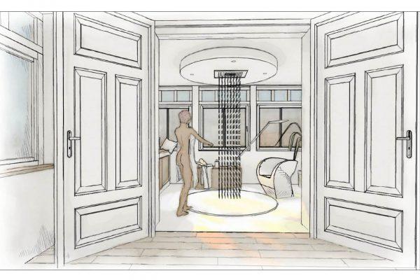 offene große runde Dusche mitten im Raum