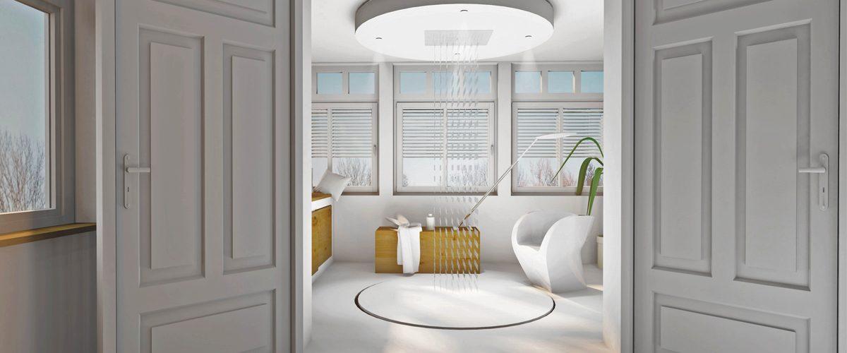 freistehende und offene duschen baqua. Black Bedroom Furniture Sets. Home Design Ideas